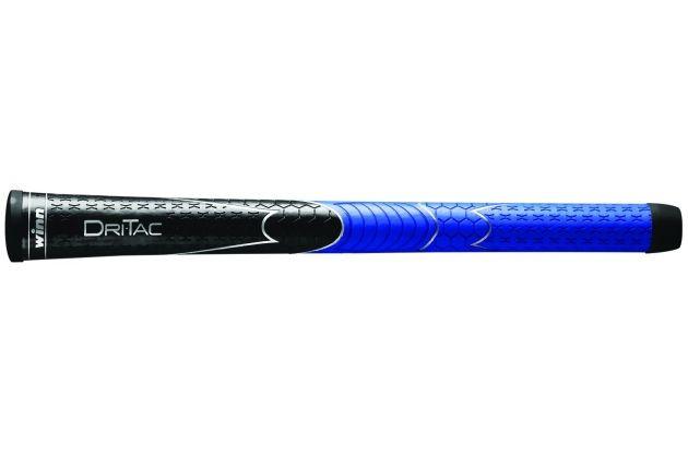 """Winn Dri-Tac Midsize (+1/16"""") Black/Blue Golf Grips"""