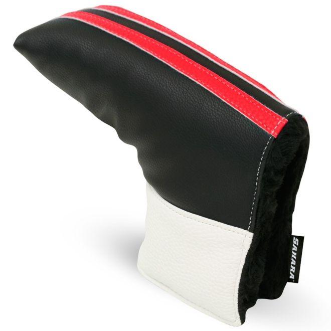 Sahara Retro Black/White/Red Golf Putter Headcover