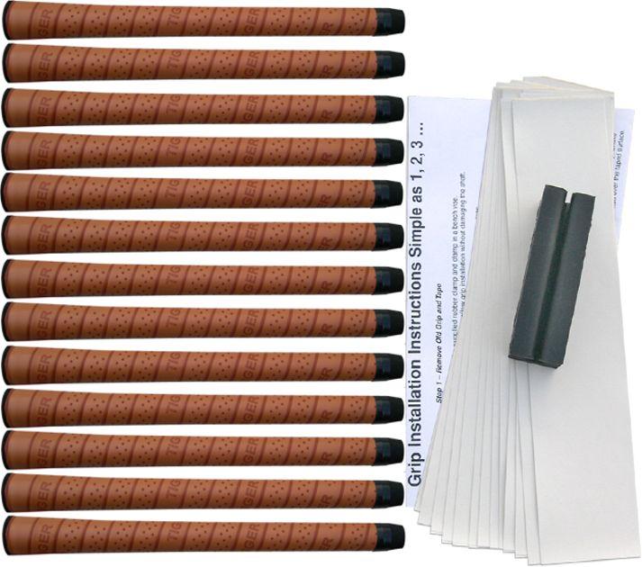 Tiger Synthetic Wrap Midsize Tan - 13 pc Grip Kit
