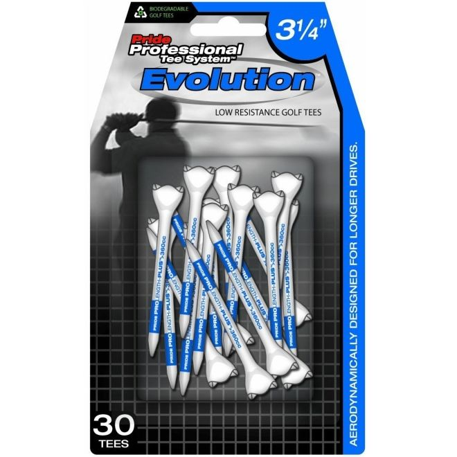 "Pride Evolution Plastic PTS 3-1/4"" Pack of 30 Golf Tees - White"