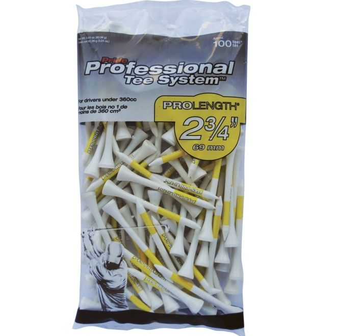 """Pride Professional Tee System 2-3/4"""" Pack of 100 Golf Tees - White"""