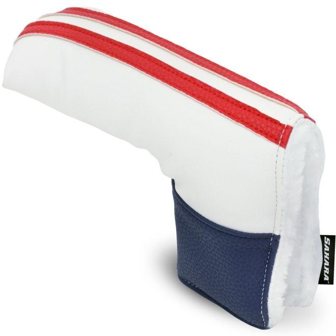 Sahara Retro White/Red/Blue Golf Putter Headcover