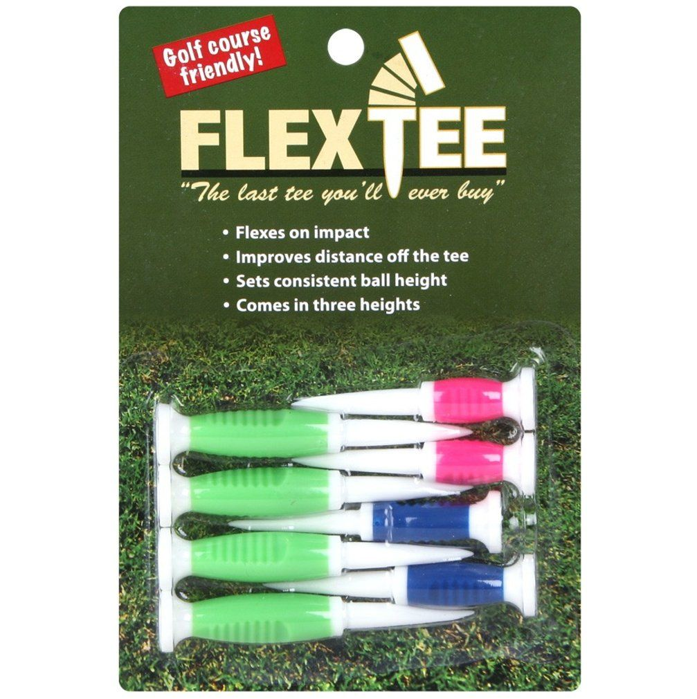 FlexTee Flexible Golf Tees Florescent Green/Blue/Pink - Pack of 8