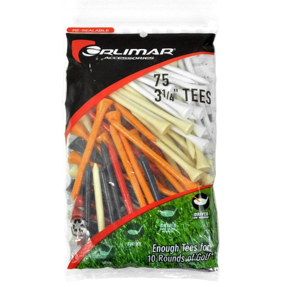 Orlimar 3-1/4 Inch Golf Tees 75-Pack - Multi-Color