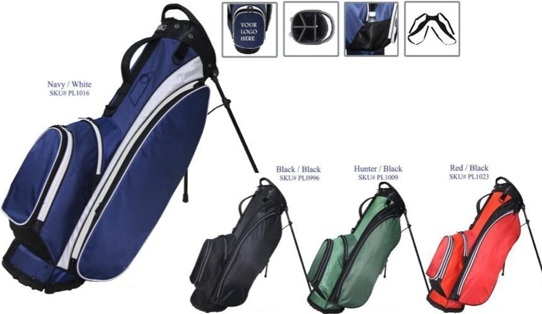 """RJ Sports Playoff 9.5"""" Deluxe Stand Bag Red/Black"""